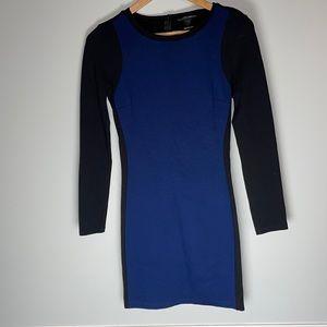 AQUA Bodycon Long Sleeve Black Blue Dress Small